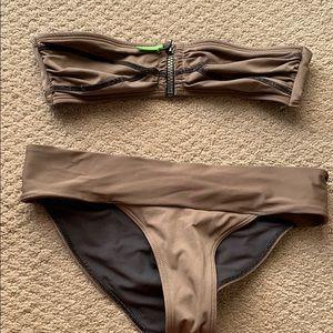 H&M tan zip up bandeau bikini set